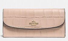 Coach Ladies Soft Wallet in Croc Embossed Leather Beechwood Tan FS7217