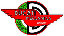 "#k139 5"" Ducati Meccanica Racing Classic Vintage Decal Sticker LAMINATED Red"