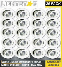 20 x White Gimbal Downlight Fittings 240V GU10 Gimble Adjustable Tilt Max 18W