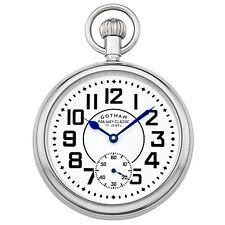 Gotham Men's Silver-Tone Mechanical Railroad Design Pocket Watch # Gwc14102S