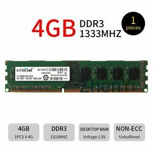 For Crucial 4GB 2GB DDR3 PC3-10600U 1333MHz 240Pin 1.5V DIMM RAM Desktop Memory