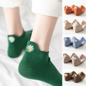 Women Embroidered Cartoon Ankle Socks Sweat-absorbent Cotton Funny Short Socks