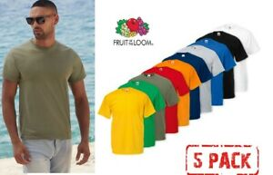 5 PACK MENS FRUIT OF THE LOOM PLAIN 100% COTTON BLANK T SHIRT TEES NEW T-SHIRT
