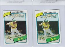 New listing 1980 Topps Rickey Henderson Rookie Card Lot (2) #482