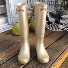 Hunter Gold Wellies Tall Rain Boot Galoshes Womens 8 M 7 UK 6 EU 39 Rubber Shoes