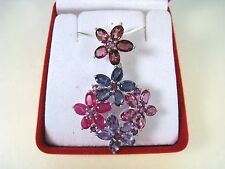 14.85 CTW RUBY IOLITE AMETHYST TOPAZ GARNET NECKLACE, WHITE GOLD over 925 SILVER