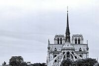 New Glossy Black & White Postcard, NOTRE DAME Cathedral Church Paris France 30P