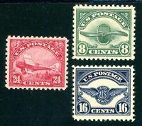 USAstamps Unused FVF US Second Airmail Set Scott C4, C5, C6 OG MVLH
