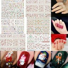 12 Sheet Christmas 3D Nail Art Stickers Snowflakes & Cute Snowmen Nail Decal US