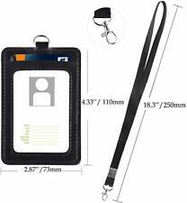 ID Identification Badge Lanyard Work Necklace Leather Holder Neck Strap Case New