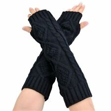 LADIES COTTON UV PROTECTION ARM WARMER LONG FINGERLESS GLOVES SLEEVES ELBOW