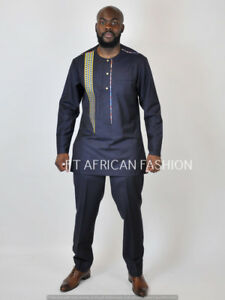 African men clothing, groom's suit,Prom  dashiki, Embroidery  suit black panther