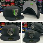 Silver Metal Badge Shield New Era NFL Black Oakland Raiders 5950 Fitted Hat