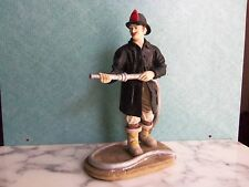 FIREFIGHTER FIREMAN  W/ HOSE, BOOTS, COAT, HAT, AT WORK  EXCELLENT CONDITION