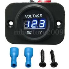 1x Waterproof Car Motorcycle Blue LED DC Digital Display Voltmeter Meter 12V-24V