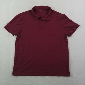 John Varvatos Polo Shirt Mens Large Star USA Purple Plum Woven Modern Cotton