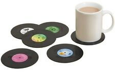 6x Vinyl Style Drinks Coasters Place Mats Bar Retro Vintage Record Discs Cup UK