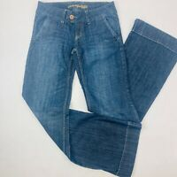 American Eagle Womens Jeans 2 Reg Blue Flare Wide Hem Faded Dark Wash