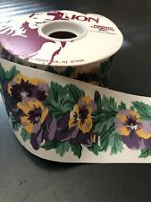 "Lion Roll Ribbon Pansies Flowers Pansette Appears Unused 25 Yards 2 5/8""  71524"