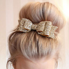 Sequin Big Bowknot Barrette Hairpin,Clip, Hair Bow, Accessories,Gold,Wedding