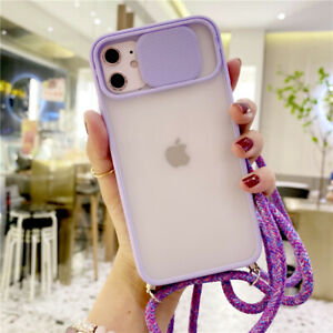 For iPhone 11 Pro Max XR XS 8 Plus Slide Lens Protective Lanyard Hard Case Cover