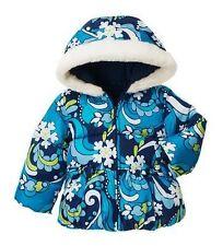 GYMBOREE Snowflake Shimmer Blue Hoodie Hooded Winter Puffer Coat Faux Fur XS 3-4