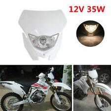Universal 12V 35W White Motocross Off Road Headlight Fairing W/ 4x Rubber Strips