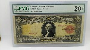 1905 $20 Gold Certificate PMG 20 NET - Fr#1179 - Technicolor Note
