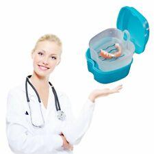 AU Denture Bath Cases Dental False Teeth Storage Box W Hanging Net Container MT