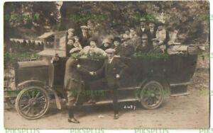 OLD MOTOR POSTCARD CHARABANC REAL PHOTO VINTAGE USED MANCHESTER C.1920