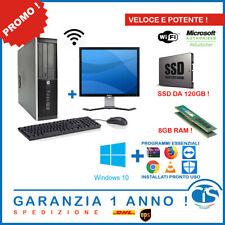 POSTAZIONE POTENTE E VELOCE SSD 8GB RAM 20'' MONITOR PC COMPUTER WIFI DESKTOP