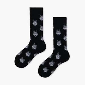 Wolf Head Socks Black Background / 1 Pair, Unisex Size M / Mens Ladies Teens
