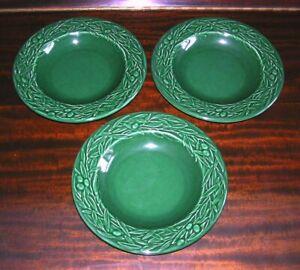 Set of 3 Varages France Dark Green Olive Leaves & Branches Majolica Soup Bowls