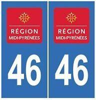 stickers autocollants plaques immatriculation auto Département Lot 46