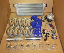 UNIVERSAL T3/T4 TURBO KIT TURBOCHARGER+INTERCOOLER+PIPING KIT BLUE COUPLER+BOV