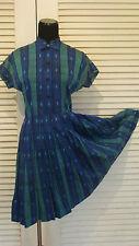 50s VINTAGE BLUE GREEN CLASSIC MENSWEAR PRINT LOLITA GIRLIE DRESS XS-S-M