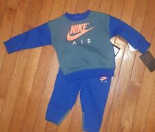 Nike Air 2 Piece Outfit/Set Jogger Sweatsuit Fleece        12 Months.  Blue  NWT