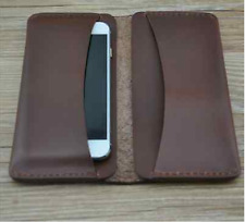 men women wallet purse cow Leather Bifold mobile iphone Holder bag brown S049