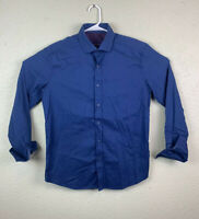 Robert Graham Button Front Men's Shirt  Blue Flip Cuffs EUC LARGE Long Sleeve