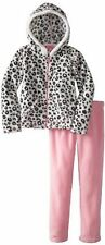 2 PIECES LEOPARD FLEECE OUTFIT PINK/ CUTE ANIMAL PRINT GIRLS SIZE 6