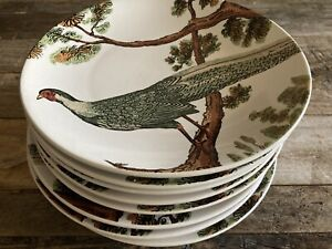 "Pottery Barn PHEASANT 9"" Salad/Luncheon Plates (Set of 4) Fall Thanksgiving EUC"