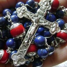 *Rare Sterling Silver Lapis lazuli Beads Rosary crucifix NECKLACE Catholic