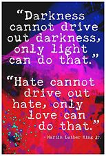 """13""""×19"""" Inspirational Poster: MARTIN LUTHER KING MLK Darkness Light Hate Love"""