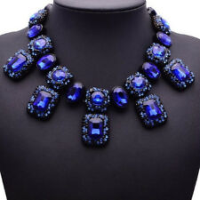 Blau Glas Strass Kette Statementkette Halskette Collier Modeschmuck schwarz neu