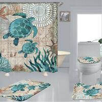 4PCS Bathroom Shower Curtain 180cm Sea Turtles Non Slip Toilet Cover Rug Mat Set