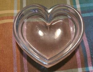 Thick Glass Heart Shaped Candy Dish Decorative Bowl 5 in wide by 1.5 inch thick
