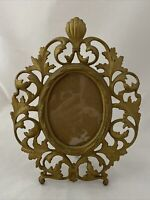 "Vintage Cast Iron ROCOCO Picture Frame Gold Tone 11"" Easel Back Table Top"