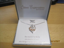 """NEW in box Silver Expressions by LArocks LOVE Heart Pendant Necklace 18"""""""