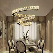 Modern Pendant Light Spiral Chandelier LED Lamp Crystal Salon Lighting Fixtures