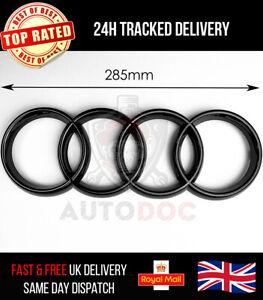 Audi Rings 285mm Front Hood Grille Emblem Badge Decal Gloss Black A6 A7 Q3 Q5 Q7